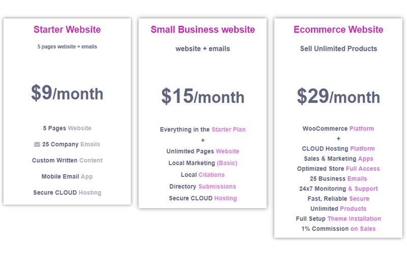 Small Business Website Design prices